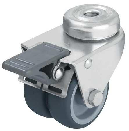 Dual Wheel Caster, Swivel, Term Rubber, 2 in, 176 lb
