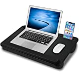 Laptop Lap Desk, NEARPOW Lap Desk with Full PU Leather Design, Right Left Hand Available,Wrist Pad and Phone Holder, Lap Desks for Laptop up to 17 inch, Portable Laptop Stand for Sofa Bed Couch Adults