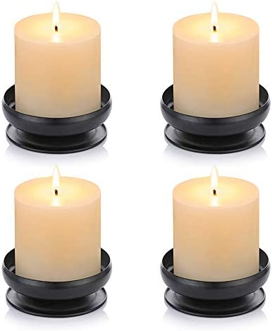 Pcs of 4 Spike Candle Holder Iron Candle Plate Pillar Candle Holder Black Decorative Iron Pillar product image