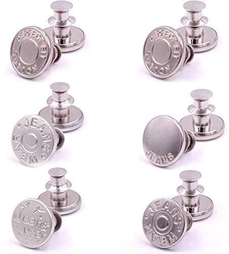 6pcs Retráctil Vaqueros Botón, Ajustable Vaqueros Botón Botones de Metal sin costuras que agrega o reduce una pulgada a la cintura de cualquier pantalón en segundos