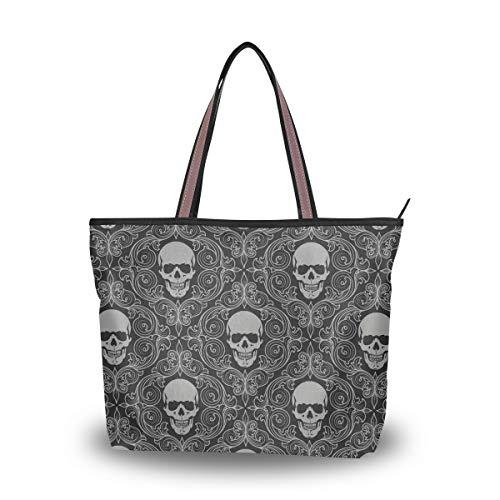 XiangHeFu Damen Handtaschen Floral Sugar Skull Hintergrund Polyester Stoff Schultertasche
