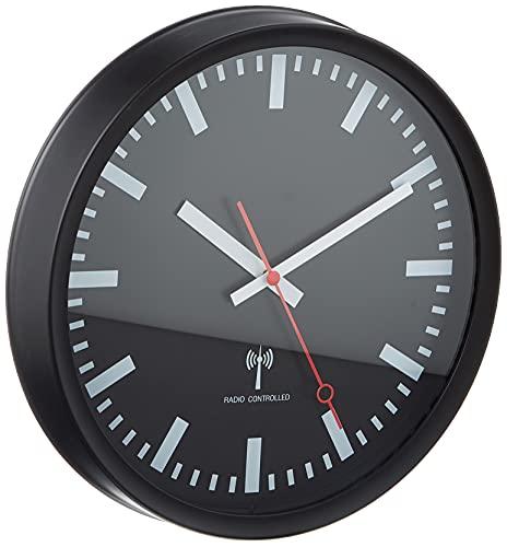 TFA Dostmann Funk-Wanduhr, 60.3513, leises Uhrwerk, Stil einer Bahnhofsuhr, Funkuhr, genau, schwarz