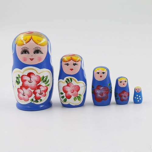 Mikolotuk 5 Russische Puppen, aus Holz, Matroschka, Marke der Puppen, Dekoration, handbemalt, Geschenk