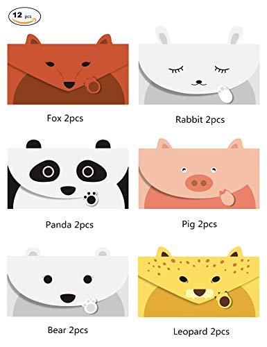 JINSRAY Cute Lovely Animal Cartoon Design Letter Writing Stationery Paper, Greeting Card, Invitation Card, Thank You Card, Size 6.3 X 8.3 Paper, 12 PCS/Set – Panda Bear Fox Leopard Pig Rabbit