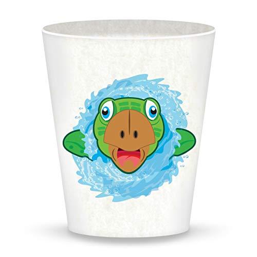 Vaso Ecoware - Tortuga marina de Deluxebase. Vaso ecológico de vajilla infantil de animales hecho de bambú y materiales de origen biológico