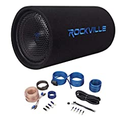 "Rockville RTB10A 10"" 500w Powered Subwoofer Bass Enclosure With Bass Remote.  500 Watts Peak/250 Watts RMS.  10"" High power woofer in vented tubular enclosure.  Integrated,  built-in 250 Watts RMS Rated amplifier.  Rear aero vent bass system Speaker ..."
