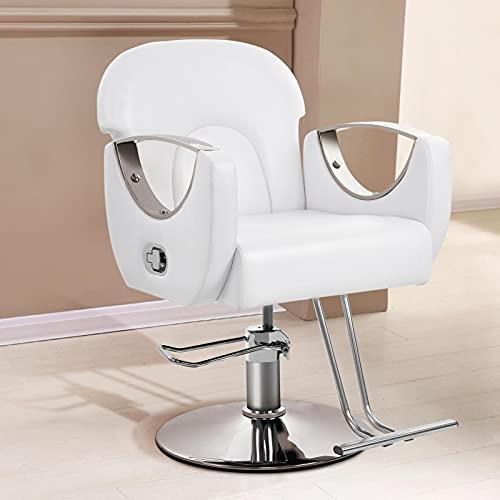 Silla de peluquería, silla de peluquería, silla de peluquería, silla de peluquería, altura ajustable, piel sintética, giratoria, con reposabrazos y respaldo para salón de peluquería, SPA, color blanco