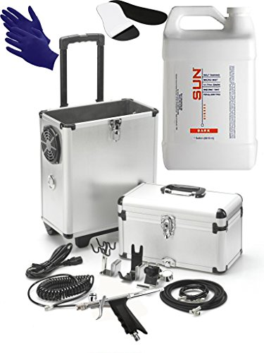 Mobile Sunless Spray Tan Machine - Professional Airbrush Tan with Spray Tan Sticky Pads for Feet (10 pair) + Solution + Tanning Gloves