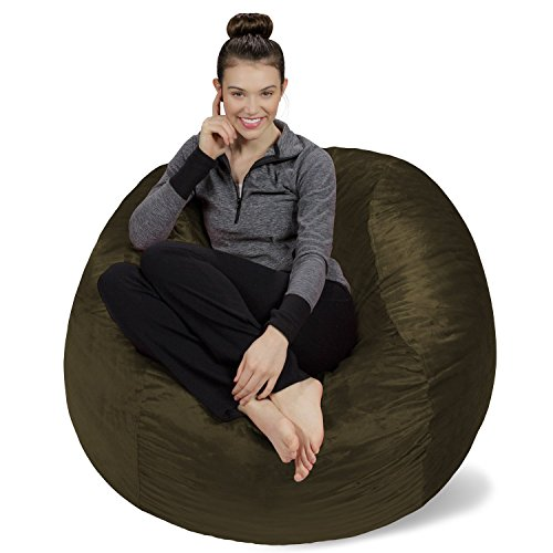 Sofa Sack - Plush, Ultra Soft Bean Bag Chair - Memory Foam Bean Bag Chair with Microsuede Cover - Stuffed Foam Filled Furniture and Accessories for Dorm Room - Olive 4'