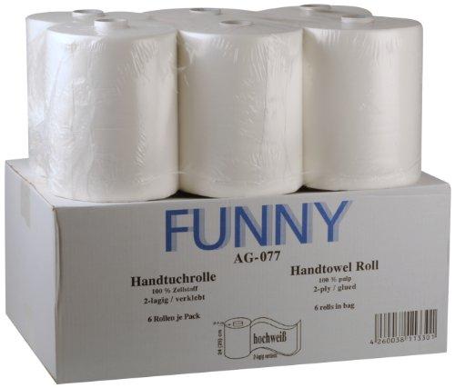 Funny Handtuchrolle mit Spezialkern, für Markenfreie Spendersysteme, 2 lagig hochweiß, 24 cm, circa 140 m, 5er Kern, 1er Pack (1 x 6 Stück)