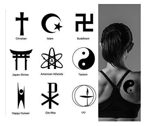 2 Sheets Temporary Tattoos For Men Women Christian Fashion Body Art Cross Islam Sticker Sexy Fake Church Faith Tattoo Special Design Waterproof Black Tattoos