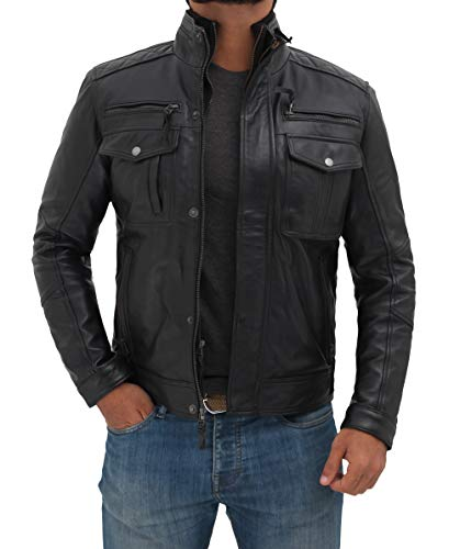 Decrum Real Leather Black Mens Biker Jacket | Moffit Black,M