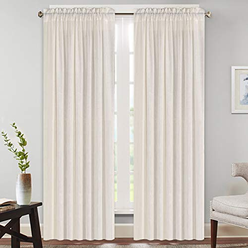 """Natural Rich Linen Curtains Semi Sheer for Bedroom/Living Room/Dining   Rod Pocket Textured Flax Window Curtain Drapes Privacy Added Light Reducing Soft Curtains 2 Panels (Natural, 52"""" W x 84"""" L)"""