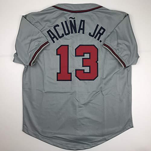 Unsigned Ronald Acuna Jr. Atlanta Grey Custom Stitched Baseball Jersey Size Men's XL New No Brands/Logos