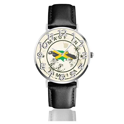 Sello con Mapa Bandera Jamaica Relojes Durable PU Cuero Reloj de Pulsera Life Silence Reloj de Cuarzo Acero Inoxidable como Regalo de cumpleaños