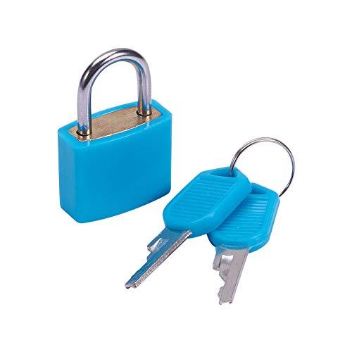 MroMax 南京錠 盗難防止ロック セキュリティロック 亜鉛合金パドロック 亜鉛合金製 ABSシェル 引き出し キャビネット スーツケース ツールボックス 22.5mm幅 キー付き ブルー ショートビームが開かない 1pcs