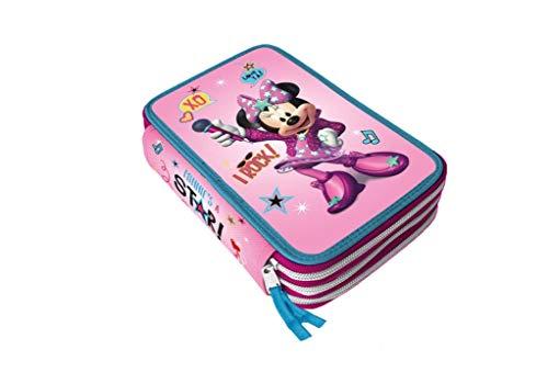 Disney Minnie Astuccio 3 Zip Completo di Cancelleria Giotto con Rilievo