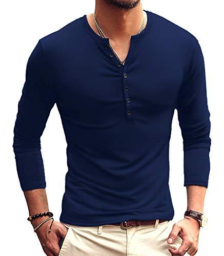 YTD Mens Casual Slim Fit Basic Henley Long Sleeve Fashion T-Shirt S Navy