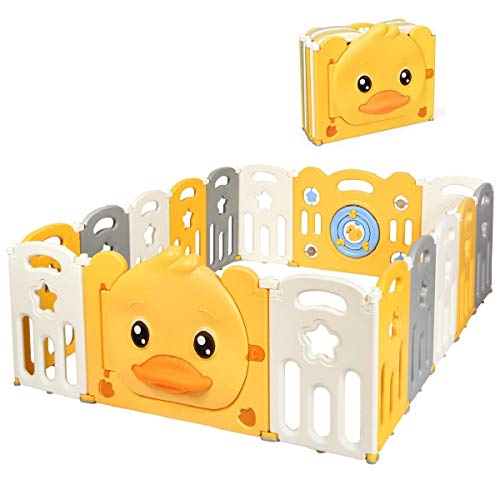 Costzon Foldable Baby Playpen, 16-Panel Portable Baby Play Yards with Yellow Duck Pattern, Door with Safety Lock, Indoor Outdoor Baby Fence with Non-Slip Rubber Bases & Rubber Suction Cups (16 Panel)