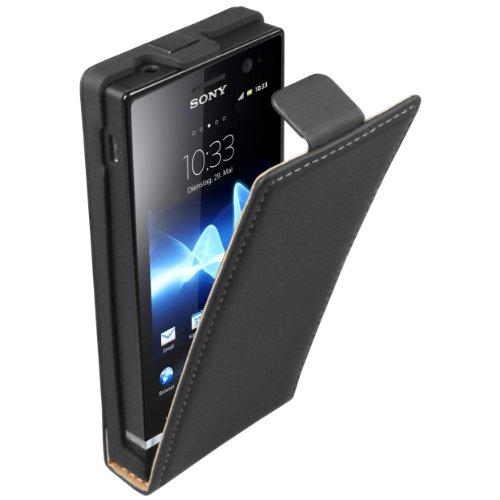 mumbi Tasche Flip Case kompatibel mit Sony Xperia U Hülle Handytasche Case Wallet, schwarz