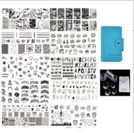 Biutee 10 Nail Art plaques Stamping 1 Tampon 1 Grattoir pour Art d'ongles Vernis à ongles Plaques d'impression Nail Plaque de Stamping LOVE/Fleurs/Feuilles