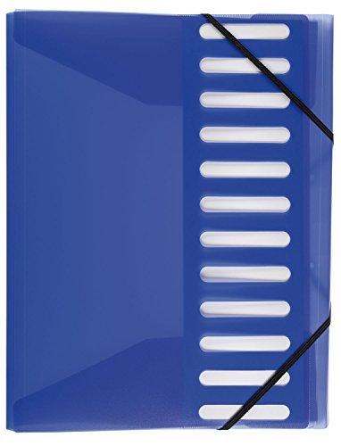 Idena 376088 Ordnungsmappe für DIN A4 mit 12 Taben, Gummizug, blau