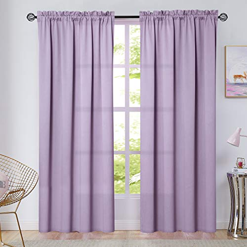 Vangao Rod Pocket Curtains Lilac 84 Inches Long Drapes for Living Room Darkening Moderate Blackout Window Treatment for Bedroom Triple Weave 2 Panels