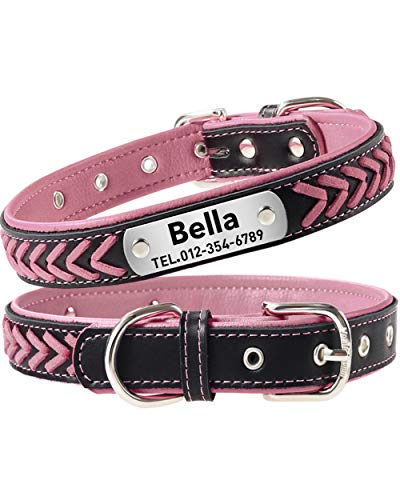 Taglory Personalisiertes Hundehalsband Leder, Hundehalsband mit Name für Extra Große Hunde, Rosa