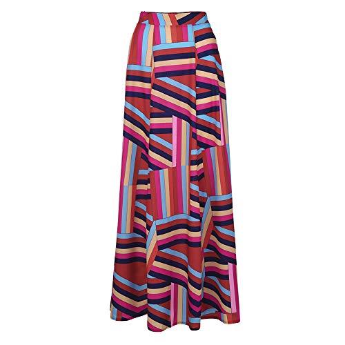 YCQUE Damenmode Lässig Elegante Tägliche Hohe Taille Lose Böhmischen Geometric Print Reißverschlüsse Lose Knöchellangen Rock