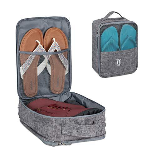 Relaxdays Porta Scarpe da Viaggio, Organizer Portascarpe per Sneaker, Ciabatte, Infradito, Accessori per Valigia, Grigio, Tessuto, 1 pz