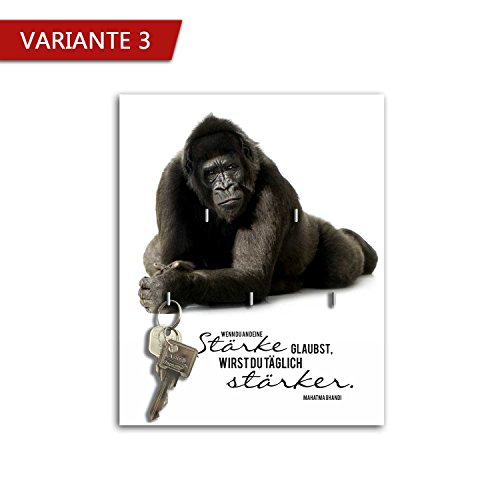 Dalinda® Schlüsselbrett mit Spruch Design Stärke (20x25cm) Schlüsselboard Schlüsselhaken SB842 (Variante 3)
