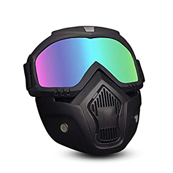 EKIND Tactical Mask Retro Motorcycle Goggles with Removable Face Mask | Safety Goggles Mask UV400 Protection Compatible for Nerf Elite Toy Gun Game Rival Ball  Black