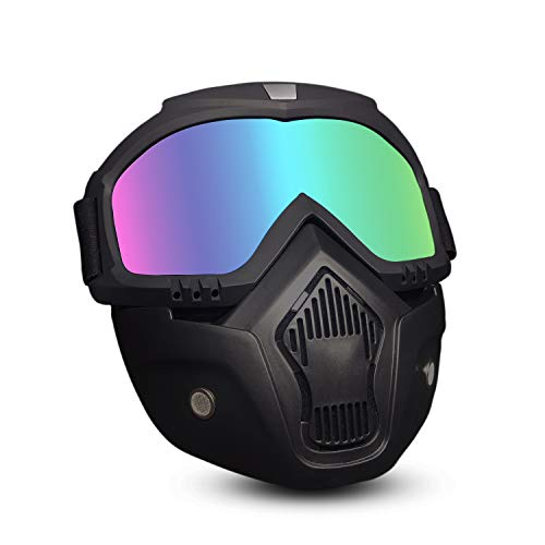 EKIND Tactical Mask, Retro Motorcycle Goggles with Removable Face Mask | Safety Goggles Mask UV400 Protection Compatible for Nerf Elite Toy Gun Game Rival Ball (Black)