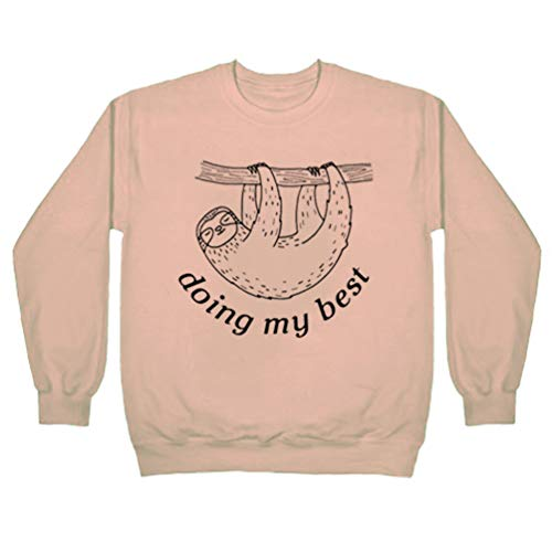 MK Shop Limited Women Doing My Best Funny Sloth Print Sweatshirt Cute Holiday Pullover Long Sleeve Top Size 2XL (Beige)
