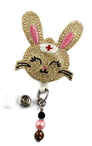 Cute Medical Nurse Bunny Vinyl Glitter - Nurse Badge Reel - Retractable ID Badge Holder - Nurse Badge - Badge Clip - Badge Reels - Pediatric - RN - Name Badge Holder