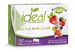 A total of twelve 50 count boxes of no calorie sweetener packets by Ideal (600 total) Made with Xylitol, a natural sweetener found in fruits and vegetables It looks, tastes and dissolves like sugar in beverages, on fruit and in cereal Clinical studie...