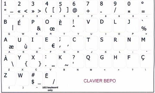 Stickers voor toetsenbord, zelfklevend, Bepo / achtergrond wit
