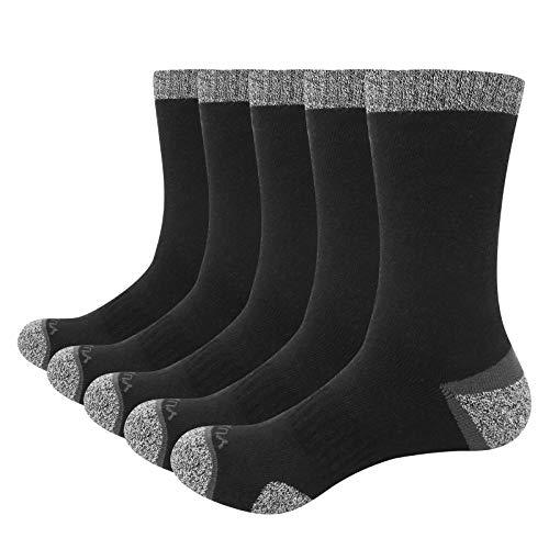 GiveGift YUEDGE Gruesos Termicos Calcetines de Algodón para Hombre Calcetines de Montaña Senderismo con talón y puntera reforzados almohadilla Trabajo Botas Calcetines Negro 5 Pares L