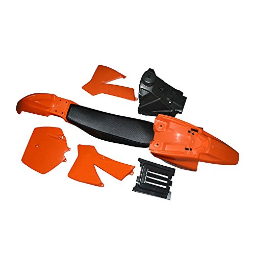 Kit de cubierta de plástico naranja con tanque de combustible Asiento negro para Ktm50 Senior Junior Jr Sr Se adapta a KTM 50 SX 50CC 50SX