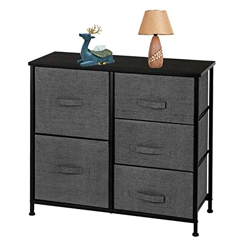 Dresser with 5 Drawers, Furniture Storage Tower Unit for Bedroom, Hallway, Closet, Office Organization - Steel Frame, Wood Top, Easy Pull Fabric Bins