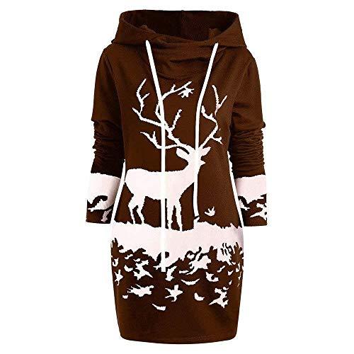 BOLAWOO Weihnachtskleid Pulloverkleid Damen Herbst Schneeflock Lang Langarm Gedruck Knielang Mode Marken Hoodie Sweatshirt Blouse Kleider (Color : Kaffee H, Size : M)