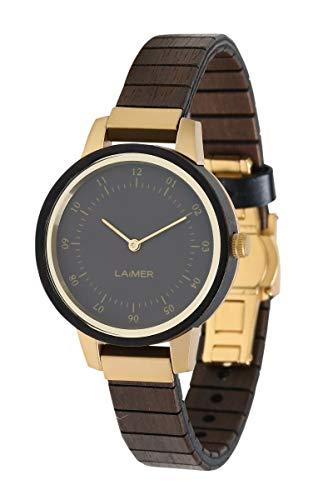 LAiMER Damen-Armbanduhr ELISA Mod. 0084 aus Sandelholz - Analoge Quarz-Uhr mit flexiblem Holzarmband