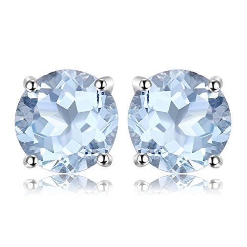 JewelryPalace Pendientes 2ct Genuino Topacio azul cielo Redondo Natural Piedra de nacimiento Aretes Plata de ley 925