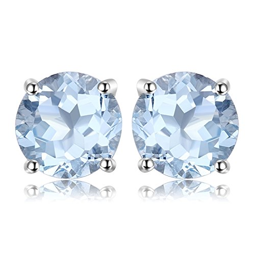 JewelryPalace Rotondo 2ct Naturale Cielo Blu Azzurro Topazio Birthstone Stud Orecchini 925 Sterling Argento