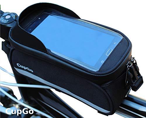 cupgo Fahrrad Rahmentasche Wasserdicht Handyhalterung Fahrradhalterung Oberrohrtasche Geeignet für iPhone X /8 Plus / 7 Plus / 6S, Galaxy S9 Plus / S8 Plus / S8/S7 Edge unter 6,5 Zoll Fahrradtasche