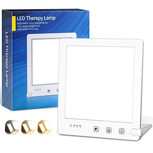 Tageslichtlampe 10000 Lux,OxyLED SAD Lampe Lichttherapielampe mit 3 Lichtfarben UV-FREE Vollspektrumlampe,3000K-6000K,4 Timer Einstellung,Touch-Steuerung LED Sonnenlicht für Zuhause,Büro,Wohnung