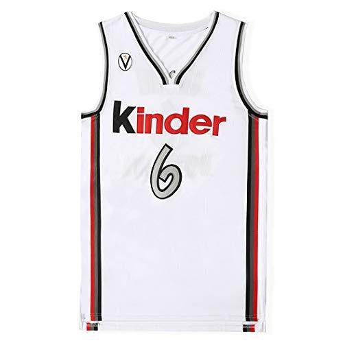 Herren-Basketball-Jersey Ginobili 6#, Manu Ginóbili Movie Version Basketball Wear, Unisex Ärmel T-Shirt, NBA Basketball Sport Swingman (Color : White, Size : XXL)