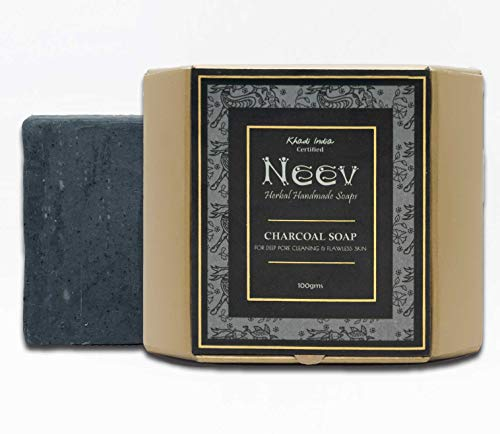 Neev Herbal Handmade Soaps Charcoal Soap for Deep Pore Cleansing and Flawless Skin, 100 g