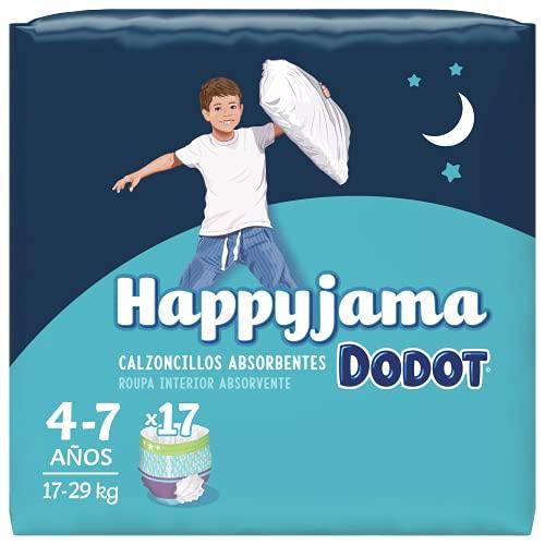 Dodot HappyJama - Pañales Niño 4-7 Años, 17 Unidades, 17-29 kg, Protección anti-fugas Durante La Noche