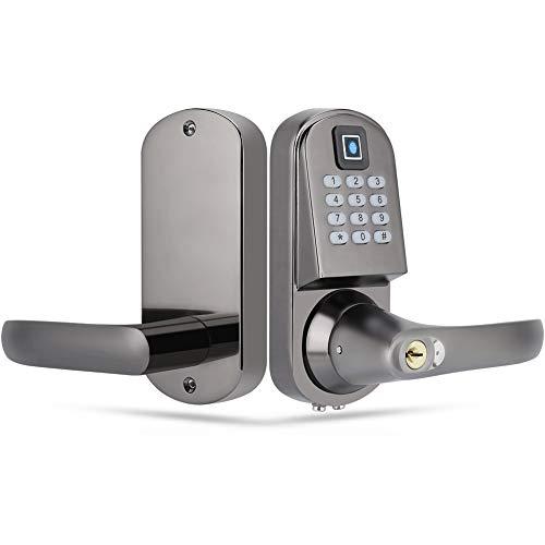 Cerradura de puerta digital, Cerradura antirrobo inteligente con múltiples modos de desbloqueo (huella digital/contraseña/llave mecánica/tarjeta RFID) para el armario, tienda, hogar